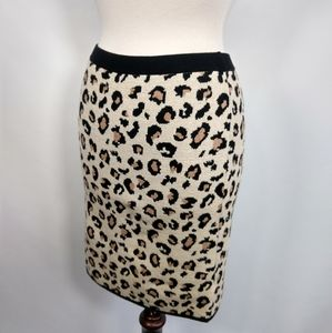 Velvet knit leopard print bodycon skirt S